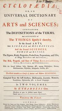 Cyclopaedia, or an Universal Dictionary of Arts and Sciences cover